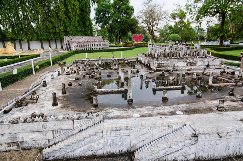 Persepolis ceremonial capital of the Achaemenid Empire at miniature park is an open space that displays miniature buildings. PATTAYA CITY, CHONBURI PROVINCE stock image