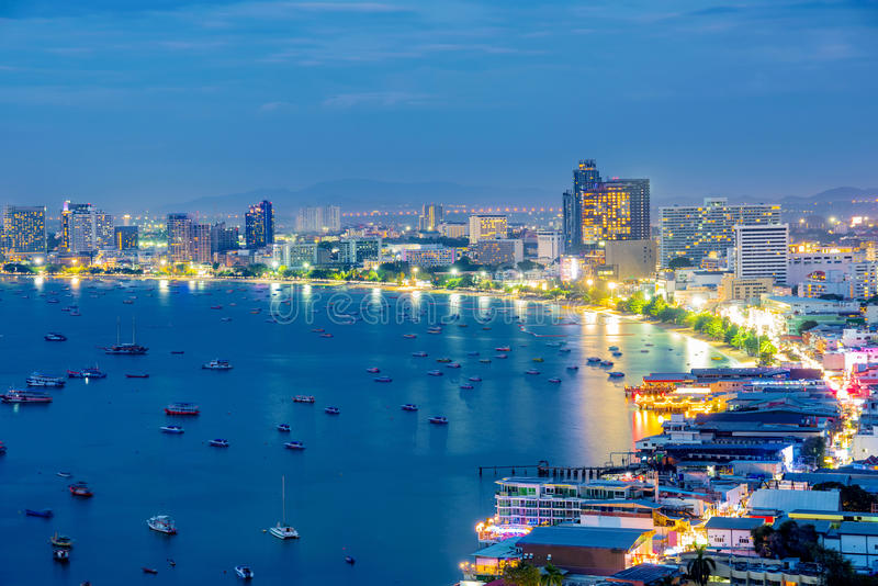 Pattaya city and ocean view. In the evening royalty free stock image