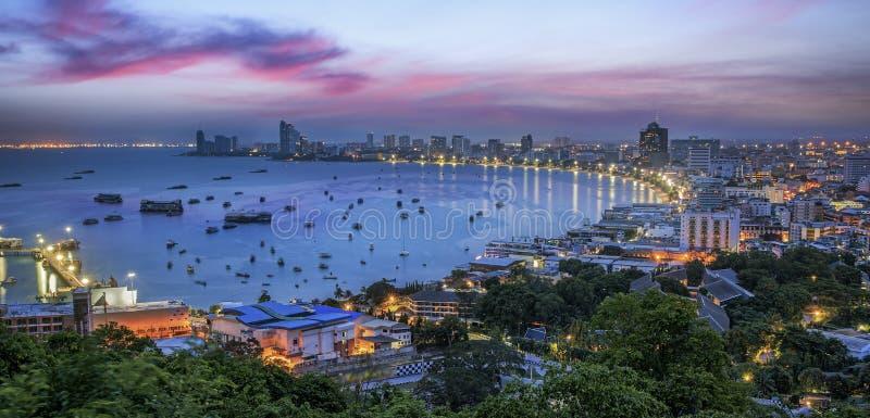 Pattaya City. And Sea in Twilight, Thailand stock image