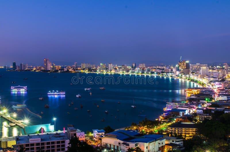 Pattaya City and Sea in Twilight, Thailand royalty free stock photos
