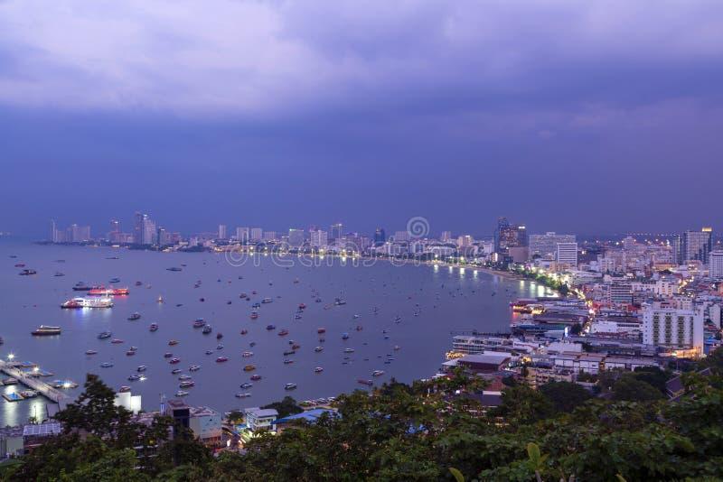 Pattaya City Skyline Dusk royalty free stock photography