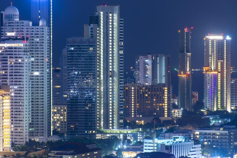 Pattaya city skyline at night view sea view. royalty free stock photography