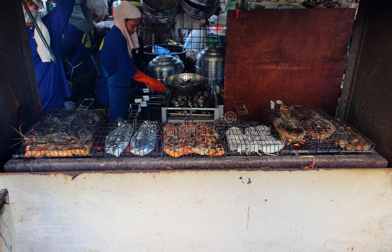 Grilled seafood on market stock photography
