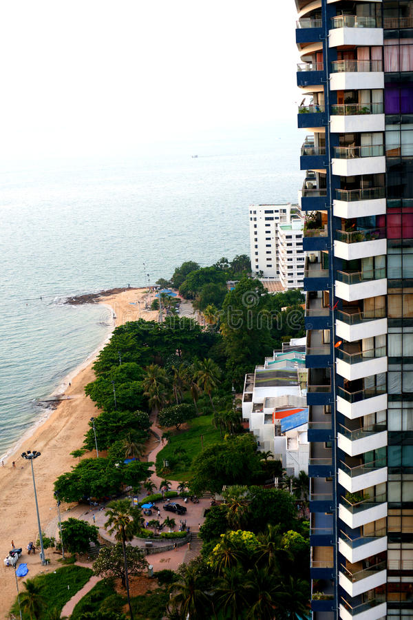 Pattaya condo. Multi-storey building overlooking the waterfront. Gulf of Thailand royalty free stock photo