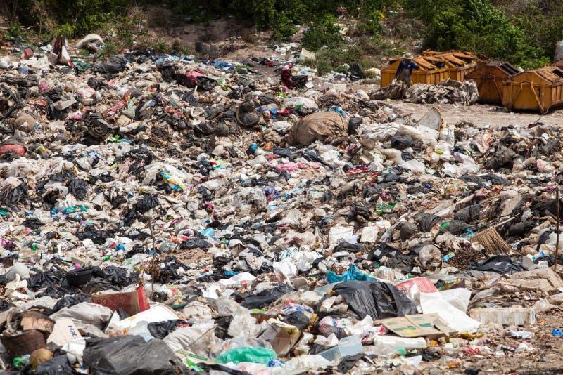 PATTAYA, EL 30 DE AGOSTO: Charca de la basura en la isla de Koh Larn en Pattaya, fotografía de archivo