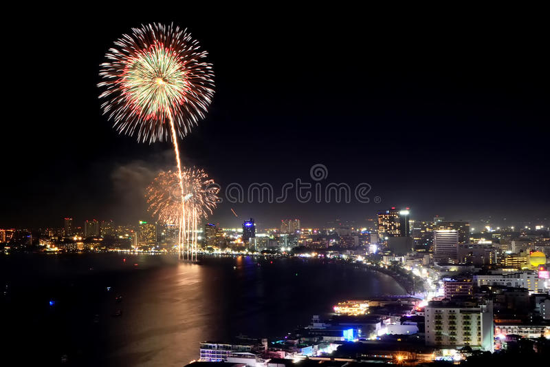 Pattaya firework. Thailand International Fireworks Festival at Pattaya 2013 stock images