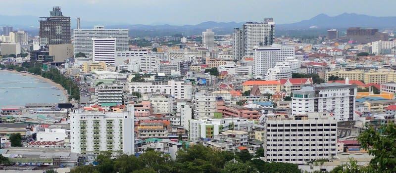 Pattaya fjärd och central Pattaya Hotell och andelsfastigheter Pattaya Thailand royaltyfri bild