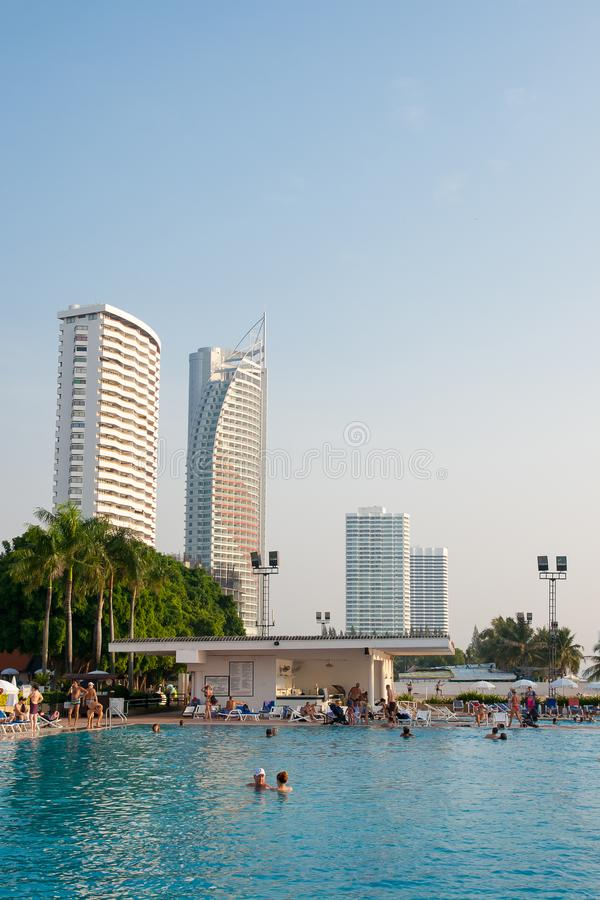 People relax in the pool at the Ambassador City Jomtien hotel. Pattaya, Kingdom of Thailand, December 03, 2018: - People relax in the pool at the Ambassador City royalty free stock images