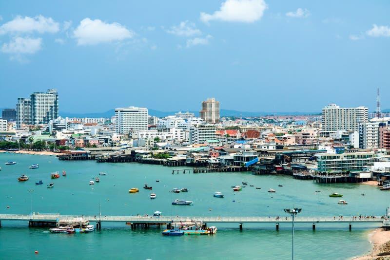 Pattaya miasto, molo parking przy Bali hai molem i port i zdjęcia royalty free