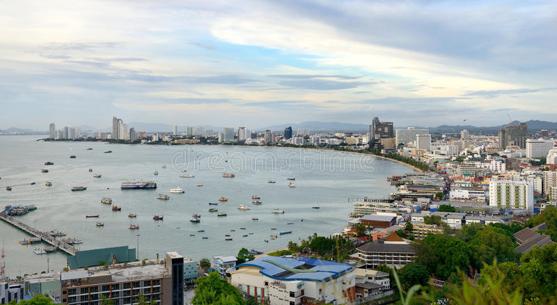 Pattaya Pacific viewing platform. From here overlooking Pattaya Bay, and the beach at the foot of the tourist pier, the scenery is very beautiful royalty free stock photos