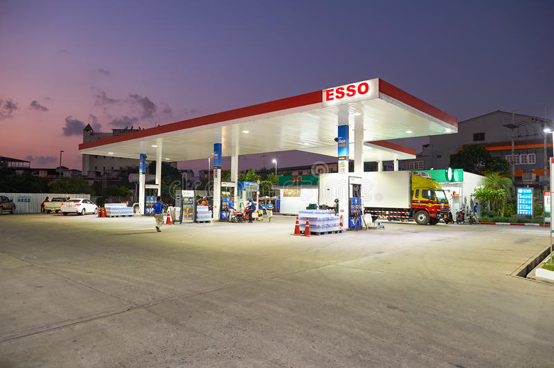 Pattaya. THAILAND - CIRCA FEBRUARY, 2016: Esso station at twilight. Esso is a trade name for ExxonMobil and its related companies royalty free stock photos