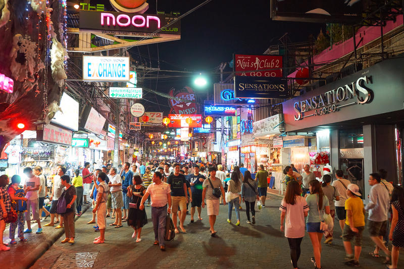 Pattaya. THAILAND - CIRCA FEBRUARY, 2016: Walking Street in  at night time. is a red-light district in the city of , Thailand royalty free stock photo