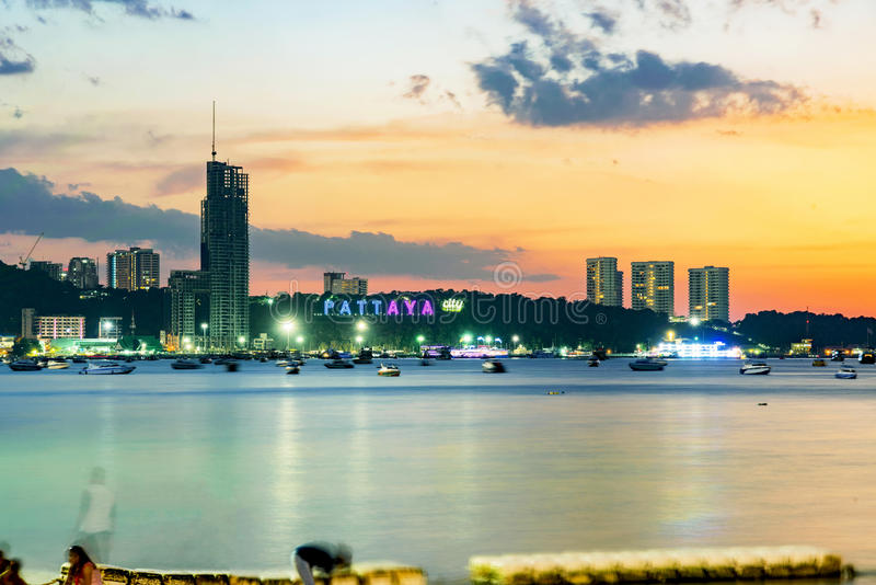 Pattaya sea view during sunset. Pattaya city sign with sea view during sunset royalty free stock photos