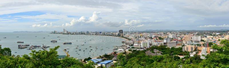 Pattaya stadspanoramautsikt arkivbilder