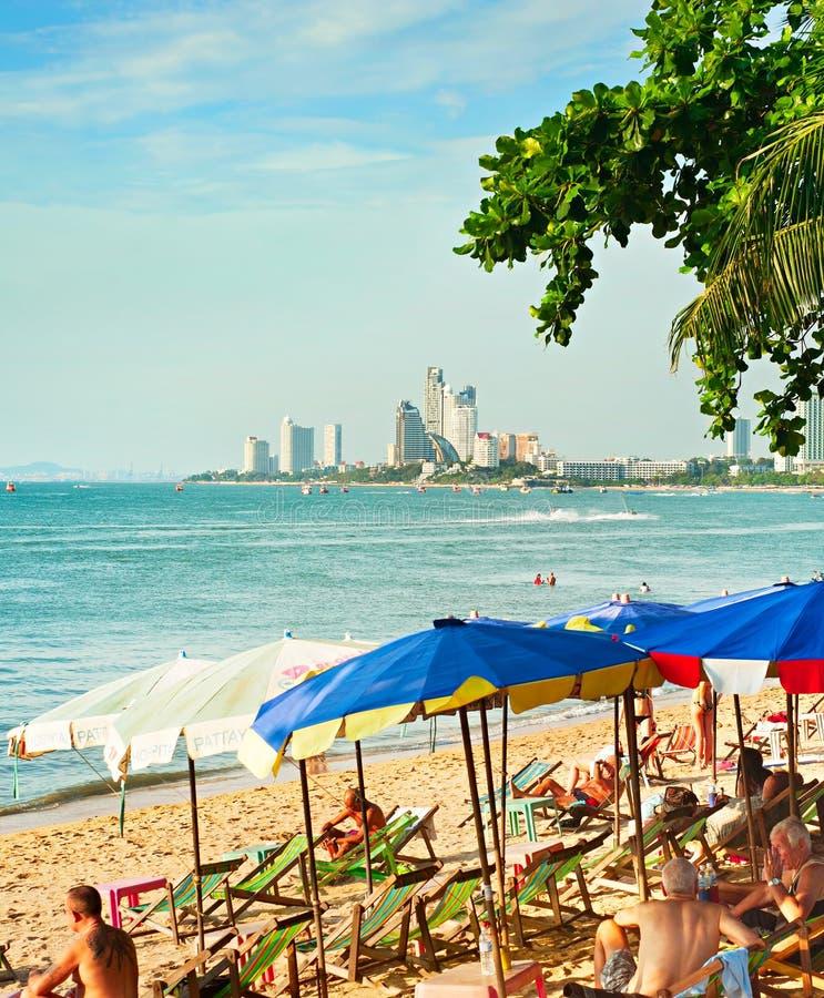 Pattaya strand, Thailand arkivbilder