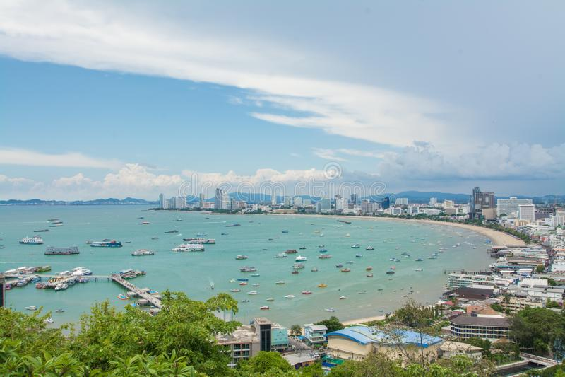 Pattaya-Strand- und -stadtvogelperspektive, Chonburi, Thailand lizenzfreie stockfotografie