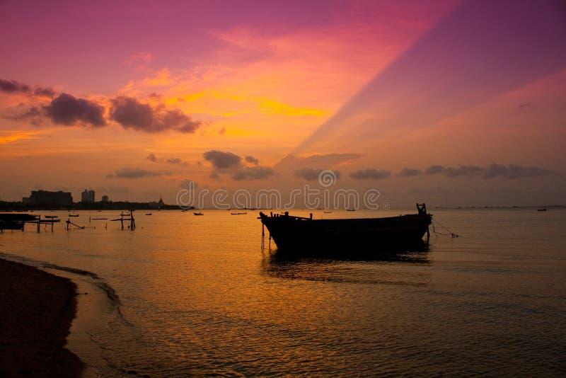Pattaya Sunset. Sunset View of Pattaya bay,Chonburi,Thailand royalty free stock photography