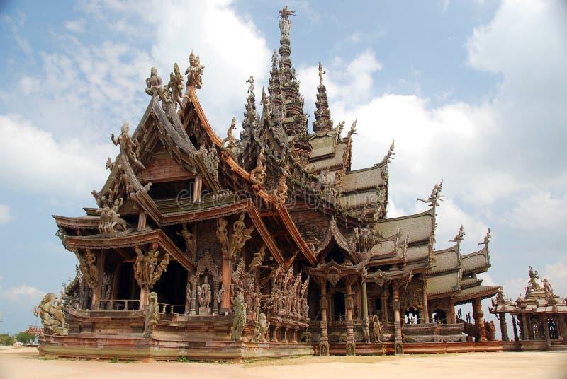 Pattaya, Tailandia: Santuario del tempiale di verità immagine stock libera da diritti