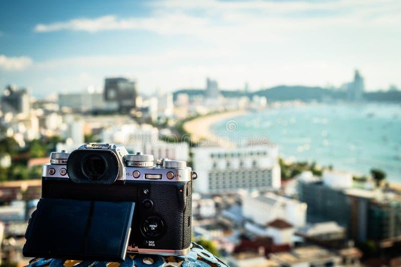 Pattaya Tajlandia, Kwiecień, - 30, 2019: Cyfrowa kamera z pięknym panoramicznym widokiem miasto Pattaya zdjęcia royalty free