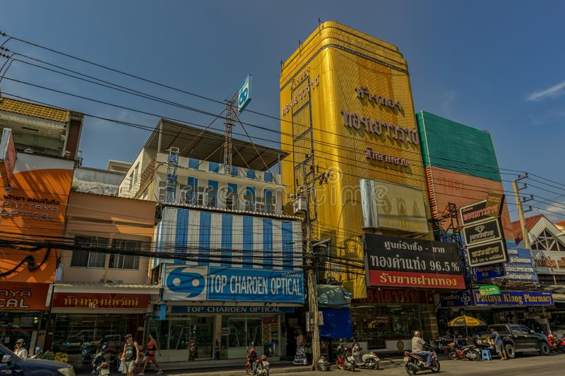 PATTAYA,THAILAND - APRIL 24,2018: Central Pattaya Road There are many shops. stock photo