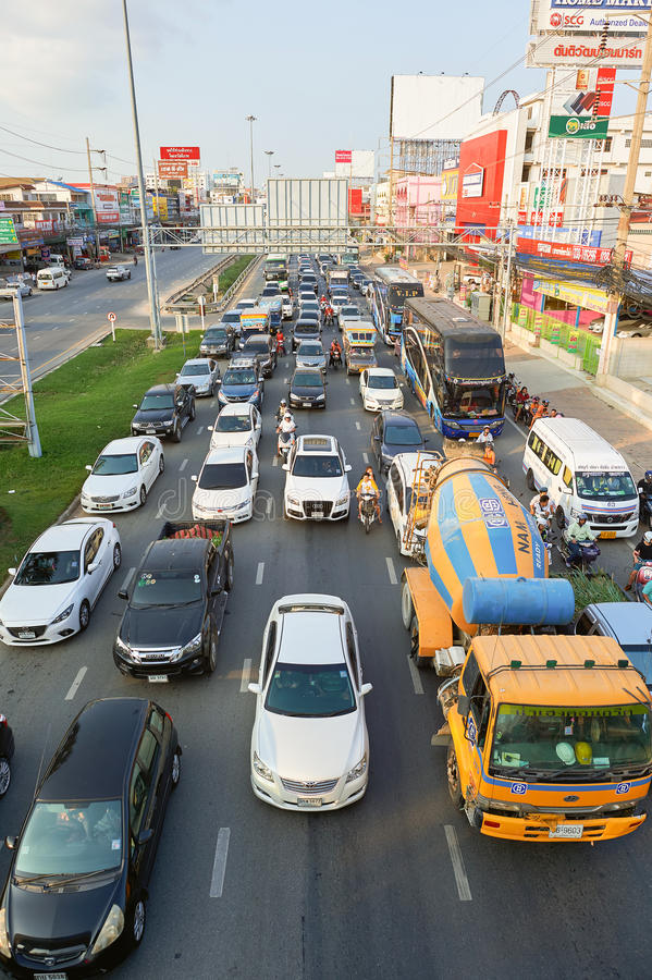 Pattaya. THAILAND - CIRCA FEBRUARY, 2016: traffic congestion in .  is a resort city in Thailand royalty free stock photography