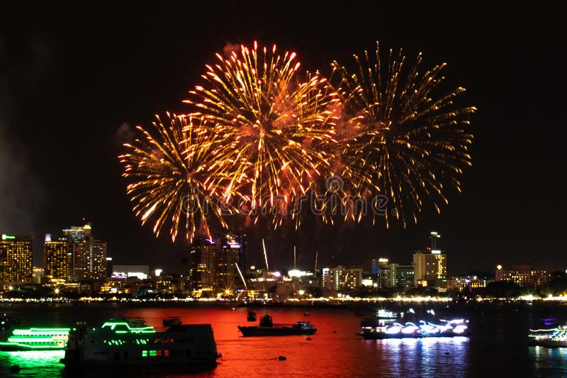 Pattaya Thailand Internationale Feuerwerke zeigen Festival Sch?ne Feuerwerke stockfoto