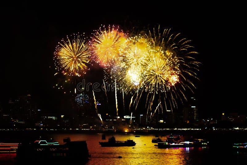 Pattaya Thailand-Mai, 24 2019 internationale Feuerwerke zeigen Festival 2019 lizenzfreie stockfotos
