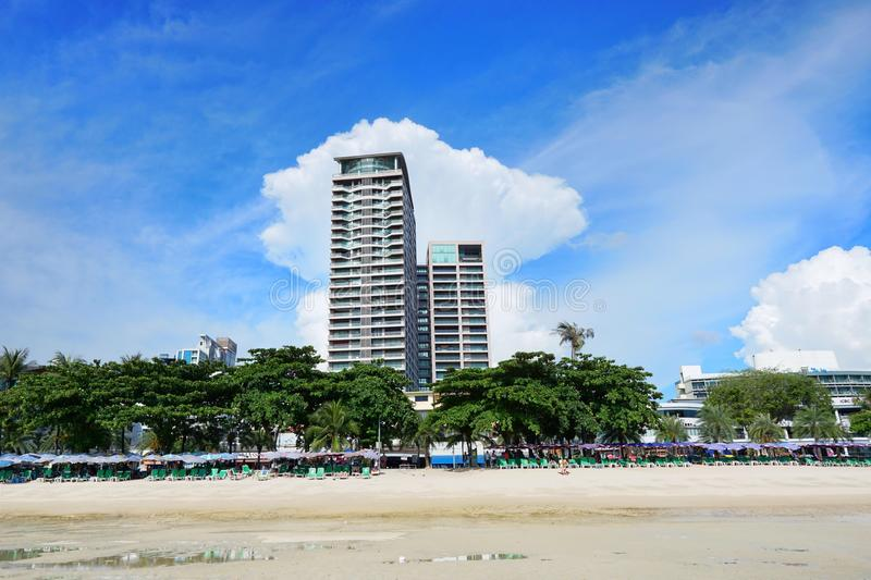Pattaya beach and city with blue sky and cloud. stock photos
