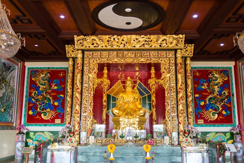 PATTAYA, THAILAND - NOVEMBER 27, 2018: The Viharnra Sien Temple indoor and golden statue of Buddha for praying. The Anek royalty free stock photo