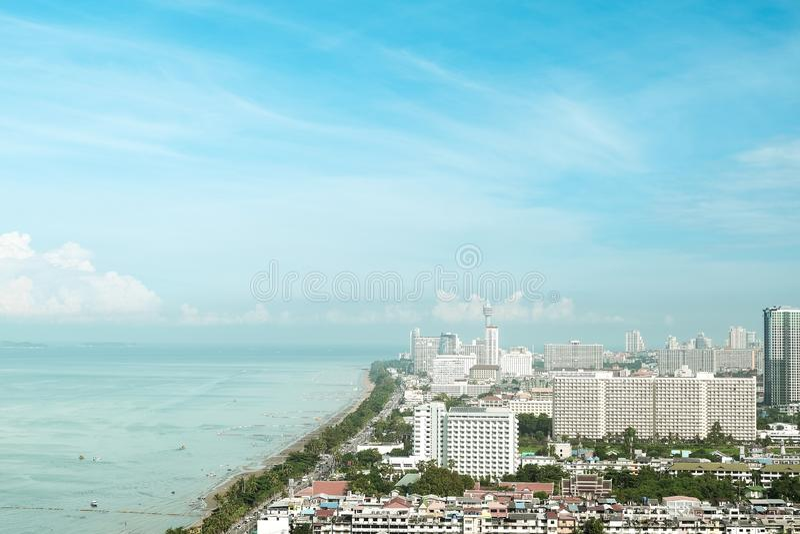 Pattaya, Thailand - Oct 07, 2018: Stunning aerial sea view at Jomtien beach. Pattaya city cityscape royalty free stock image