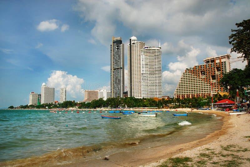 Pattaya, Thailand. View on the bay and coast of Pattaya city, Thailand royalty free stock photos