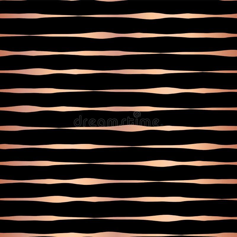 Patte вектора розовых горизонтальных прямых руки сусального золота вычерченных безшовное бесплатная иллюстрация