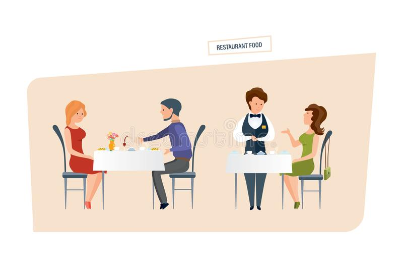 Patte de poulet frit Les gens mangent au restaurant et font des ordres illustration libre de droits