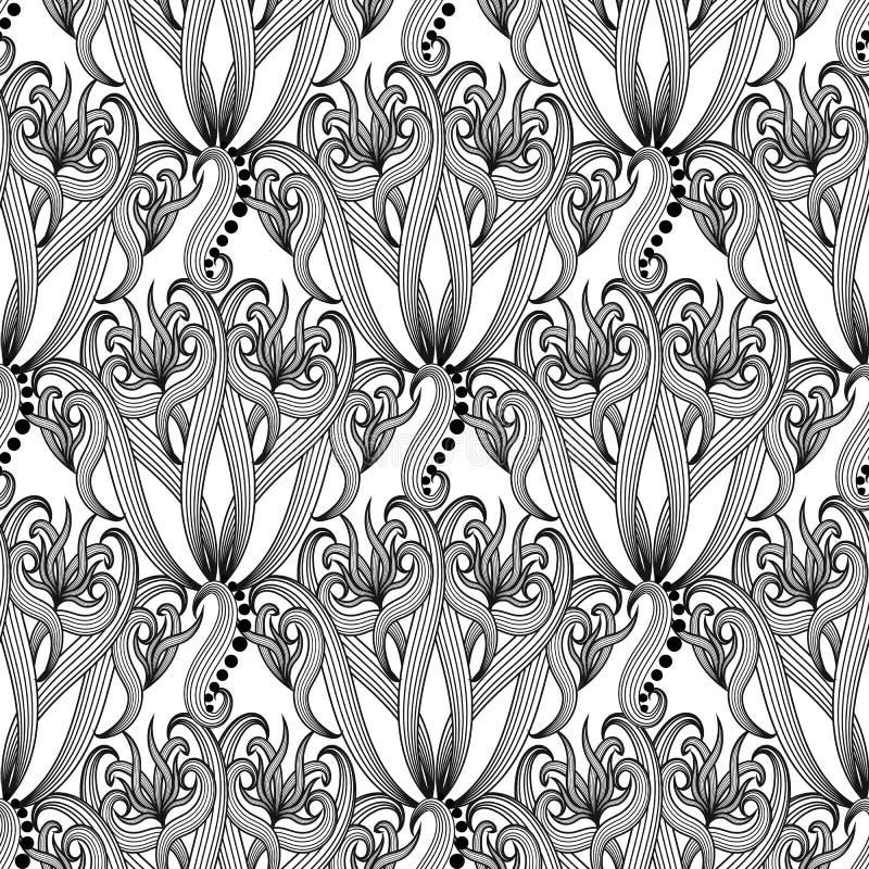 Patte sans couture de vecteur floral abstrait ornemental noir et blanc illustration libre de droits
