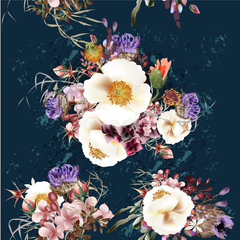Patterfn bonito no estilo do vintage em wi azuis profundos de um fundo ilustração stock