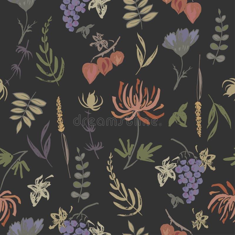 Patterm senza cuciture basato sulle foglie di autunno dipinte a mano dell'inchiostro di colore illustrazione vettoriale