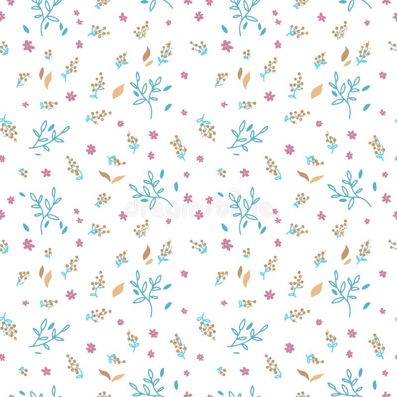 Floral seamless pattern. Hand drawn doodle leaves, brances and flower background. Nature Spring wrapping paper. Vector outline stock illustration