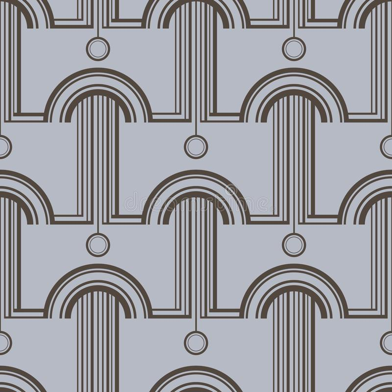 Pattern with abstract architectural forms. Vector seamless pattern for textile, prints, wallpaper, wrapping paper, web decor. Etc royalty free illustration