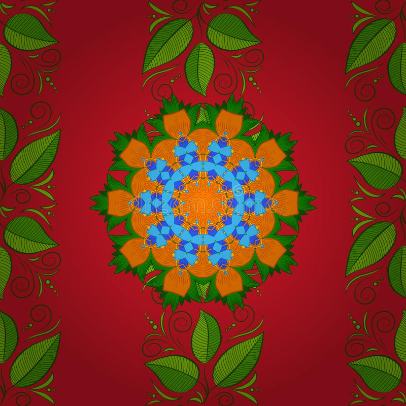 Pattern with abstract art flower for Tibetan yoga. Bohemian decorative element, indian, retro circle ornament on green, red and orange. Pattern with abstract art vector illustration