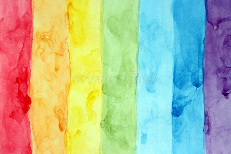 Pattern abstract multicolored rainbow stripes. Hand drawn watercolor royalty free stock photos