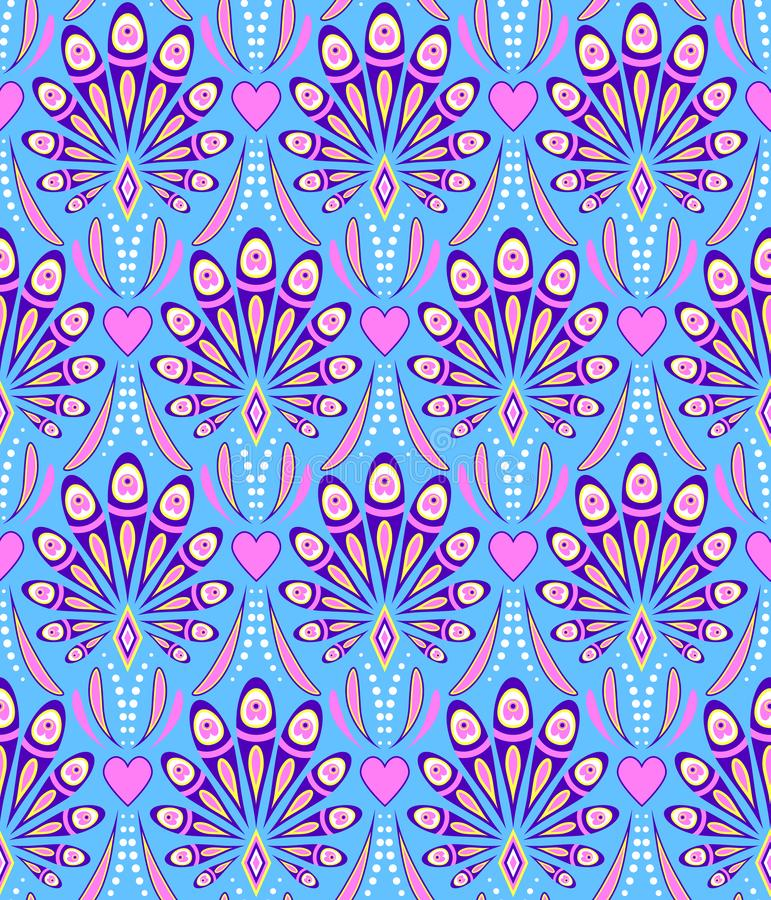 Pattern with abstract peacock feathers royalty free illustration