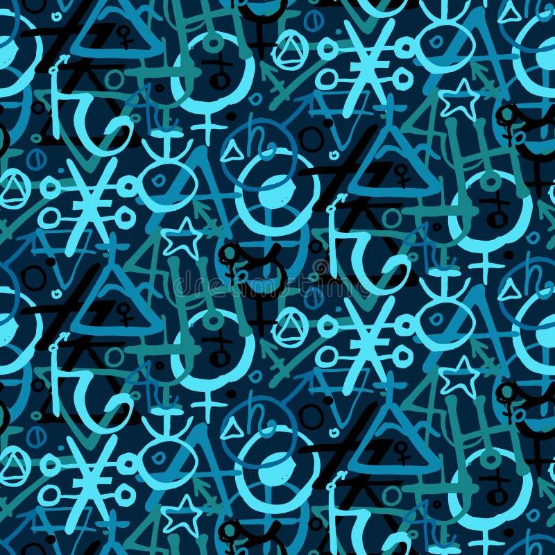 Pattern with alchemy symbols vector illustration