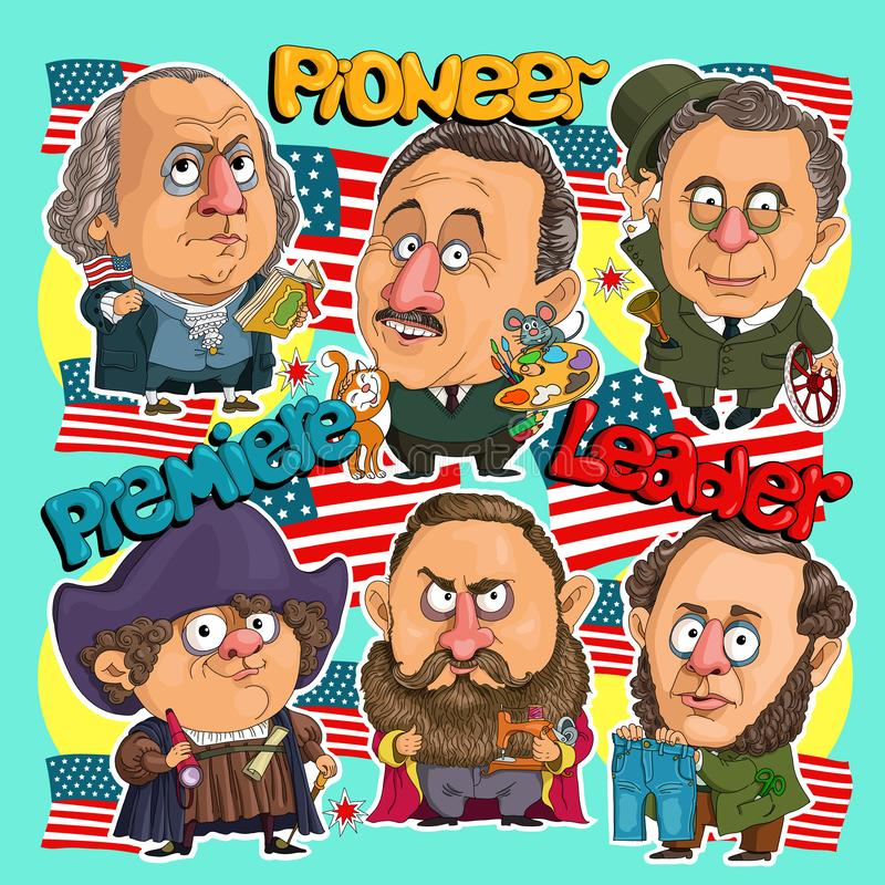 Pattern America. Sticker comics American leaders. First President, pioneer of America, inventor of jeans, sewing machine manufacturer, inventor of a car royalty free illustration