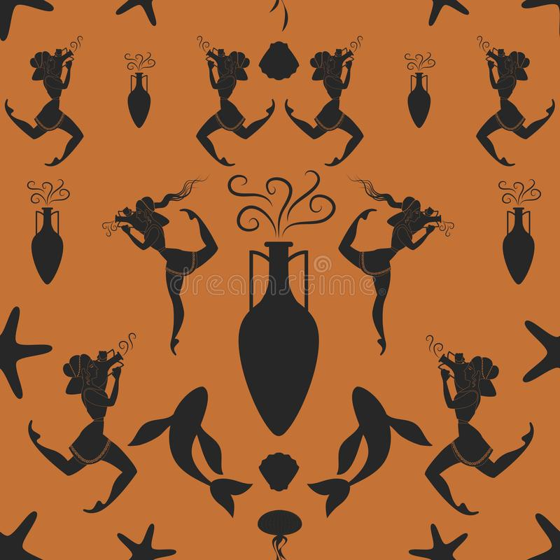 Pattern of ancient Greek girl carrying an amphora surrounded by Mediterranean sea symbols.  stock illustration