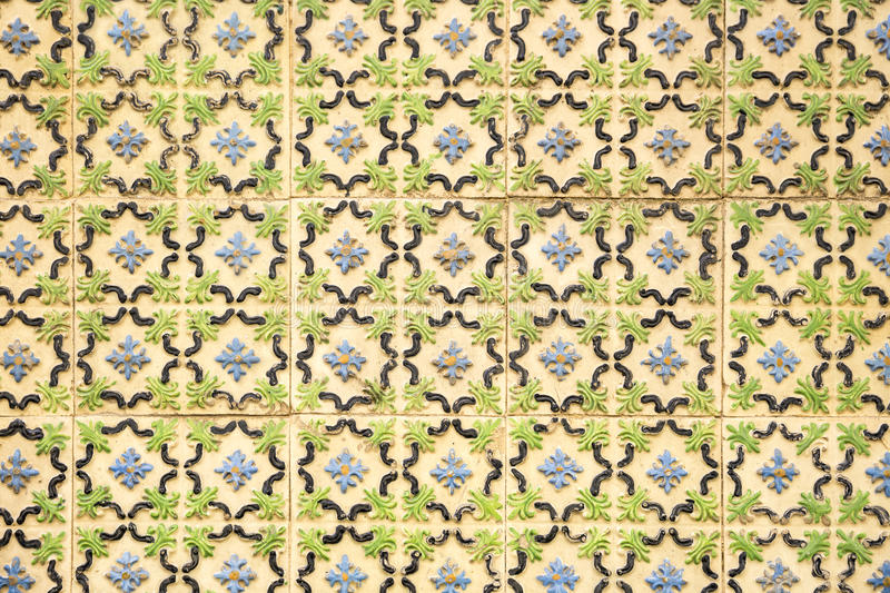Pattern of ancient tiles with embossed flower shapes stock photos