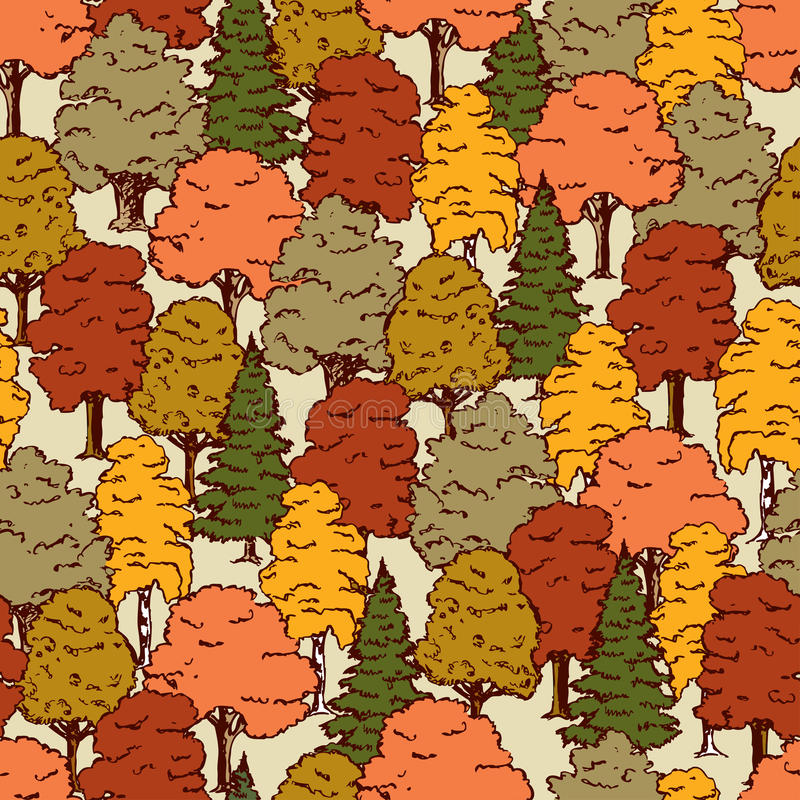 Pattern of the autumn forest stock illustration