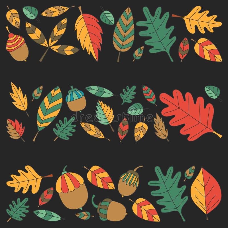 Pattern with autumn leaves Oak Mapple Acorn Linden royalty free illustration