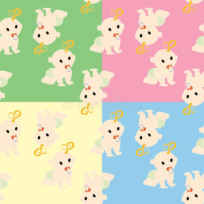 Pattern with babies. In colors royalty free illustration