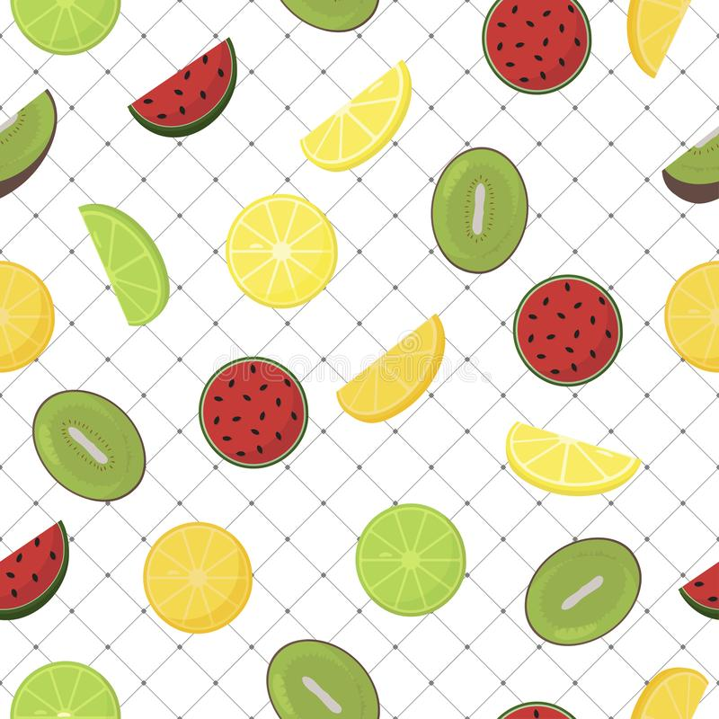 Pattern background with fruits, seamless - vector design royalty free illustration