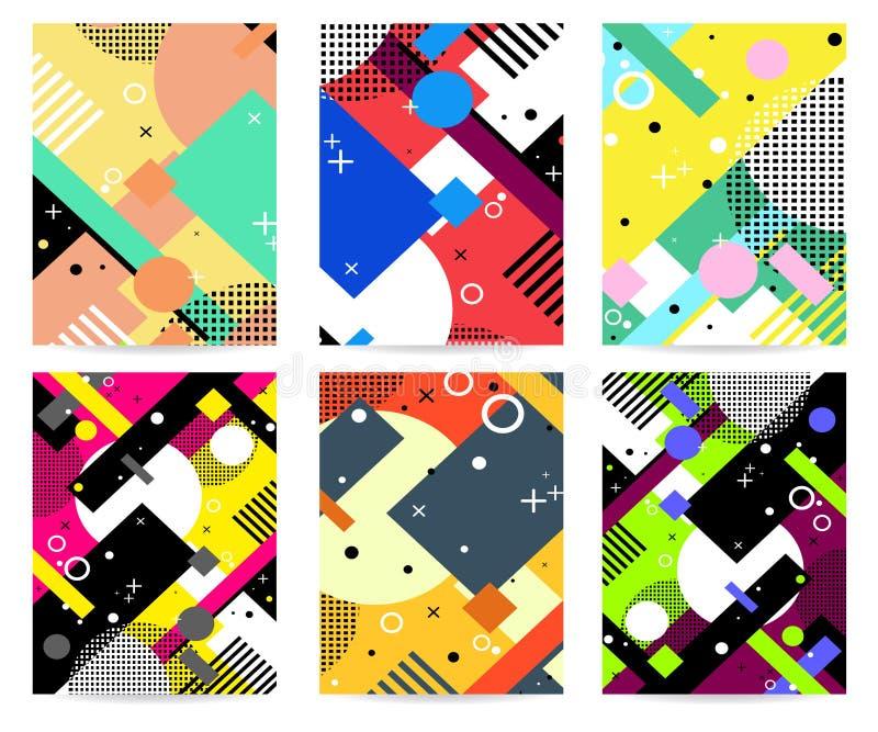 Geometric background in retro 90s style.Vector illustration. stock illustration